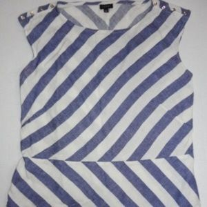 Talbots Blue/White Striped Linen Blouse